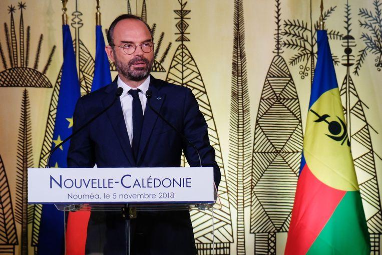 Franse premier Edouard Philippe bezocht Nieuw-Caledonië vandaag en hield daar een korte toespraak.