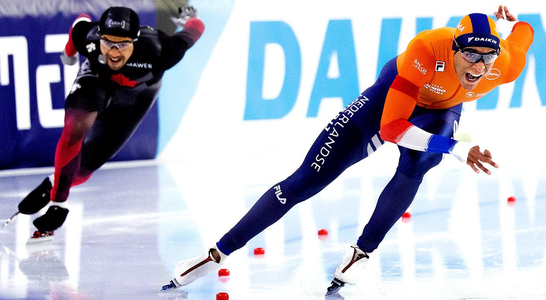 Dai Dai N'tab is zaterdag op weg naar de overwinning op de 500 meter. Beeld Klaas Jan van der Weij / de Volkskrant