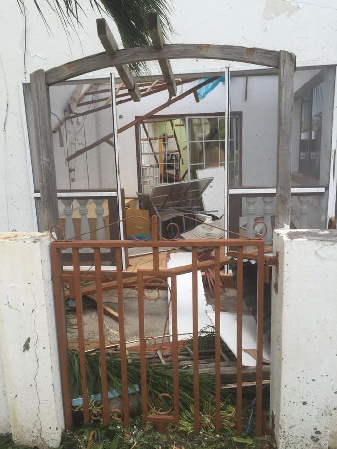Het huis van Michael Vissers na Irma.