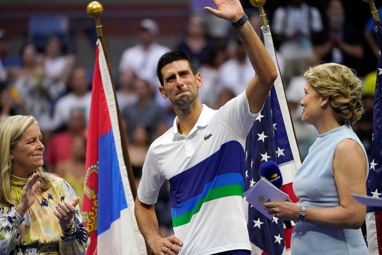 Novak Djokovic na zijn verloren finale op de US Open tegen Daniil Medvedev. Beeld AP
