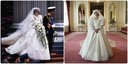 À gauche: la princesse Diana dans sa robe d'origine. À droite: la princesse Diana dans la série Netflix, avec la réplique de la robe.