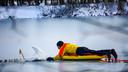De brandweer helpt in Boxmeer een zwaan die vastzit in het ijs.