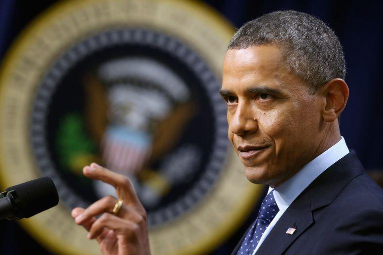 President Obama praat de pers bij over de besprekingen met betrekking tot de fiscal cliff. Beeld getty