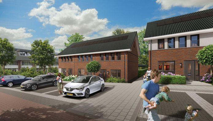 Een impressie van de huizen die worden gebouwd op de plek van het Vitens-kantoor aan de Arnhemsestraatweg in Velp.