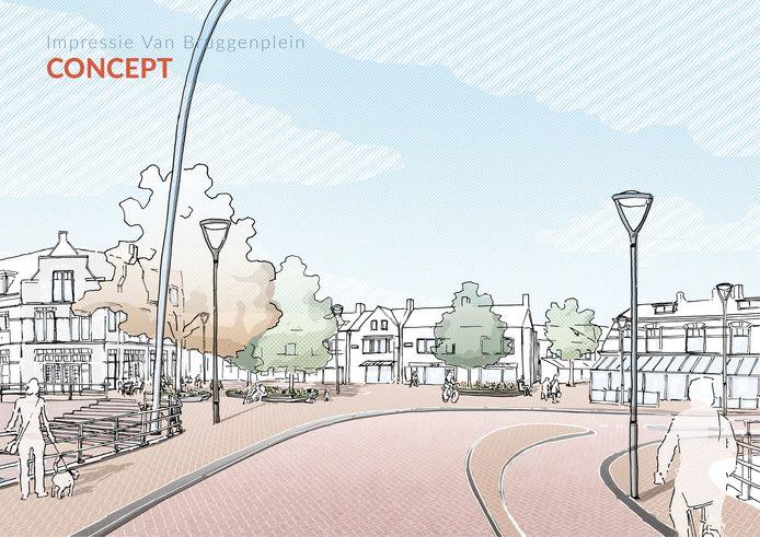 Schets van mogelijk toekomstige invulling van het Van Bruggenplein zoals die is gepresenteerd voor het Centrumplan Dalfsen.
