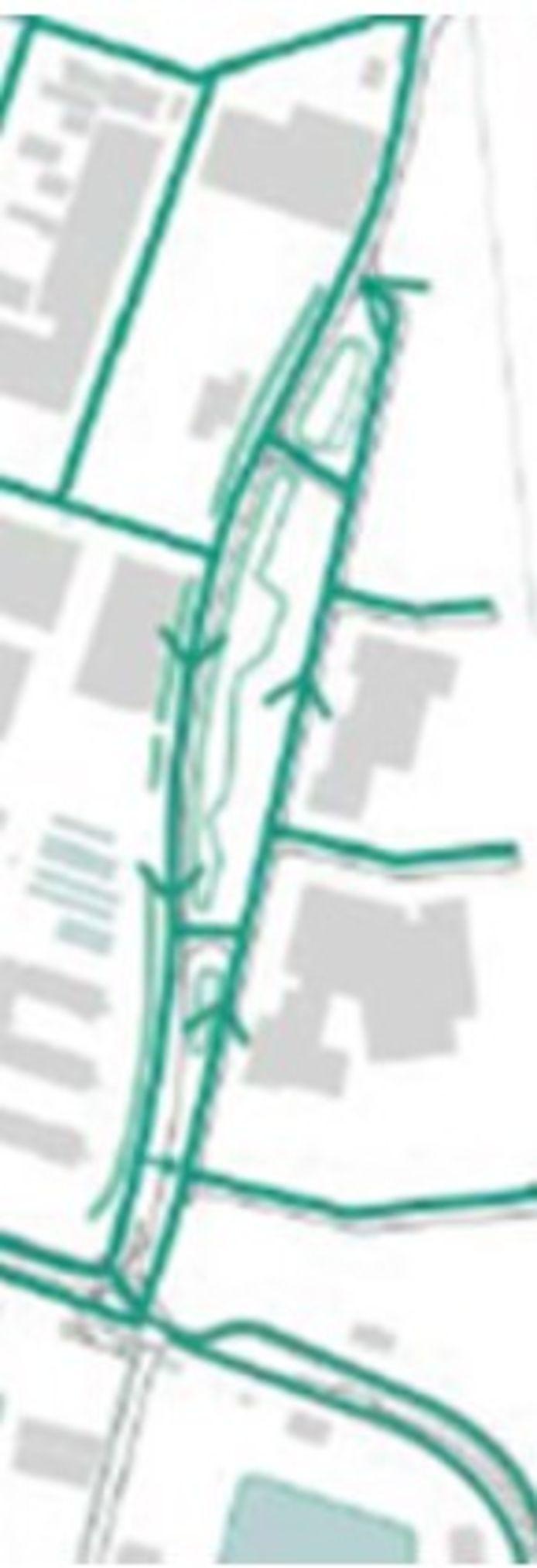 De nieuwe routering: bovenin de spoorwegovergang, links de Oude Veerhavenweg, rechts de doorgetrokken Oost-Souburgseweg, onderaan de Prins Hendrikweg.