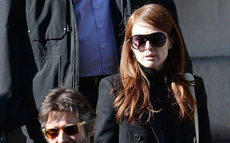 Actrice Julianne Moore op de begrafenis van Philip Seymour Hoffman Beeld AFP