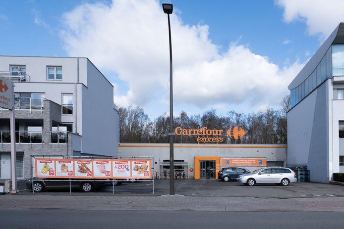 De supermarkt Carrefour langs de Battelsesteenweg
