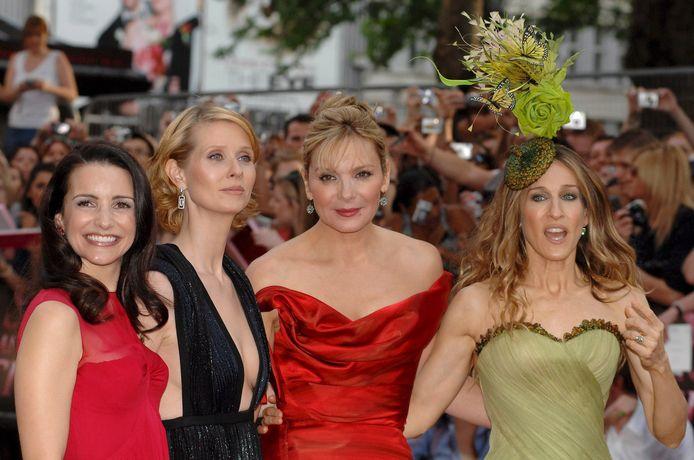 Kristin Davis (links) met haar 'Sex and the City'-collega's Cynthia Nixon, Kim Catrall en Sarah Jessica Parker.