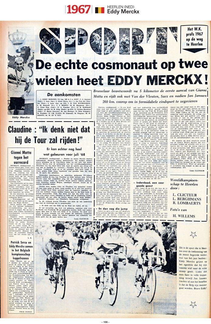 """1967 - Na zijn WK-zege vliegt """"cosmonaut op twee wielen"""" Merckx in de armen van zijn verloofde, met wie hij enkele maanden nadien zal trouwen. """"Slechts later zouden Eddy en Claudine wat intimiteit vinden om hun jong geluk te delen"""", schrijft onze journalist."""
