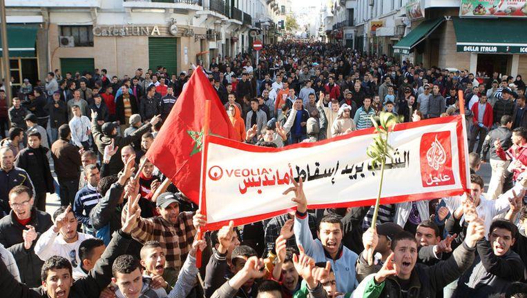 Demonstranten in het Marokkaanse Rabat Beeld afp