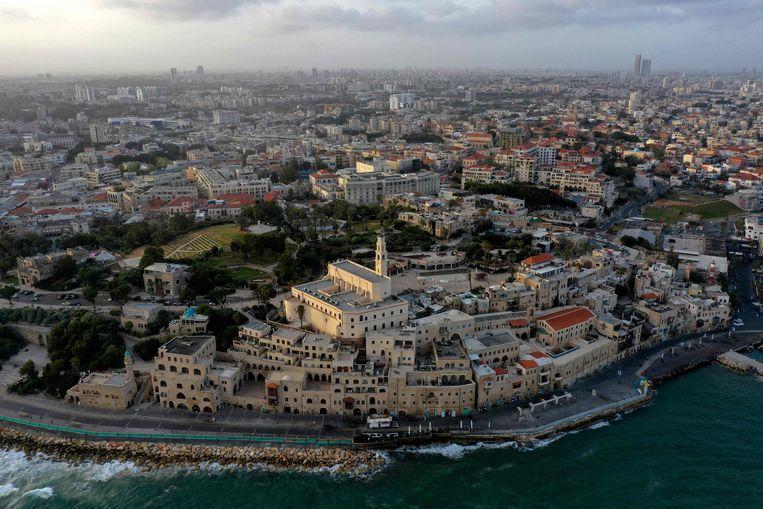 Luchtfoto van de oude stad van Jaffa.  Beeld AFP