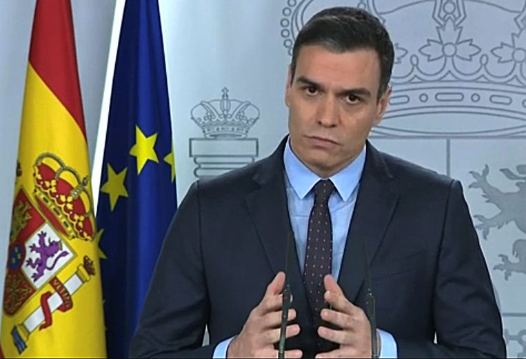 Premier Pedro Sánchez gisteren zijn zijn toespraak voor het Spaanse volk.