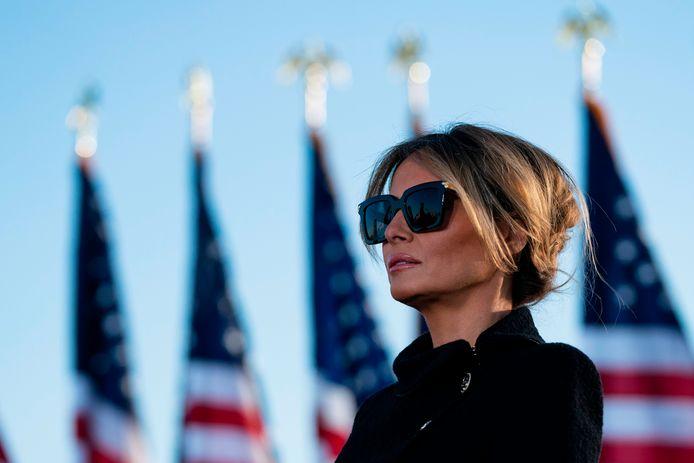 20 januari 2021: Melania Trump wandelt naar de Air Foce One op haar allerlaatste dag als first lady.