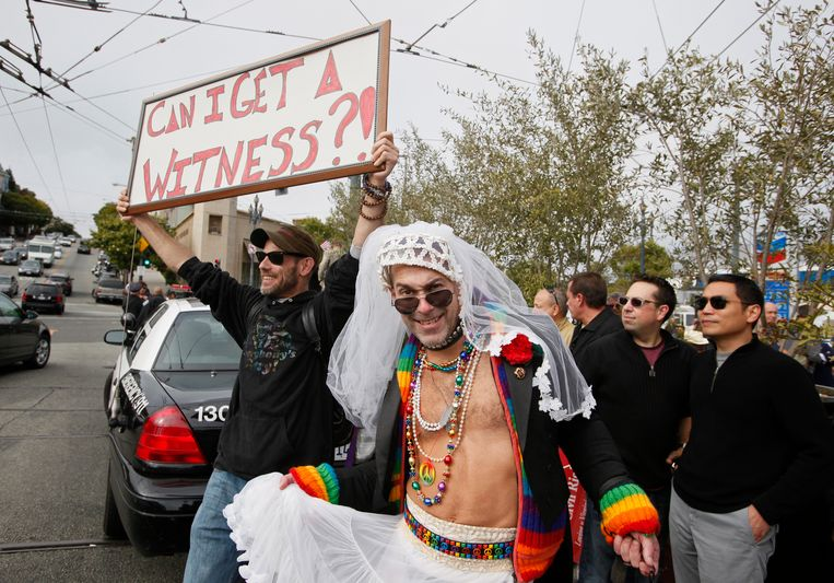 Amerikanen protesteren in San Francisco nadat het homohuwelijk daar werd verboden. (Archieffoto 2010) Beeld AP