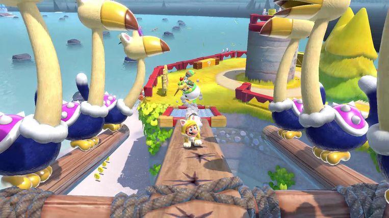 Het universum van Super Mario 3D World heeft een zweem van surrealisme. Beeld Nintendo