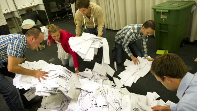 Stemmen tellen op het stadhuis in Rotterdam. Beeld ANP