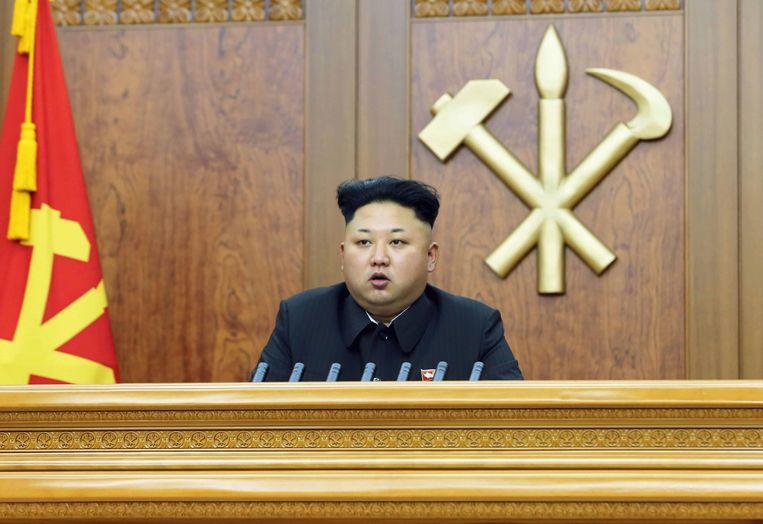 Kim Jong-un tijdens zijn nieuwjaarsboodschap. Beeld reuters