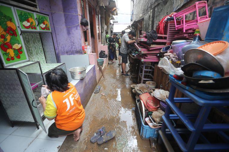 Zeer zware regen veroorzaakt ernstige overstromingen in  Jakarta. Beeld EPA
