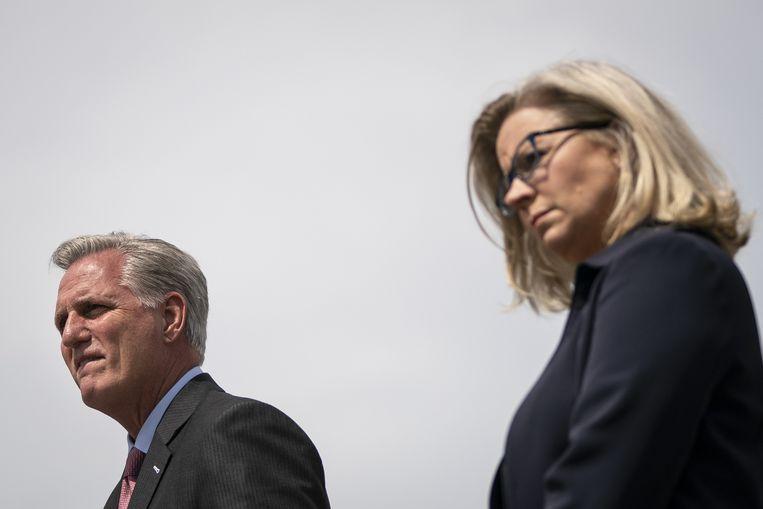 Kevin McCarthy en Liz Cheney: een verzuurde relatie. Beeld AFP