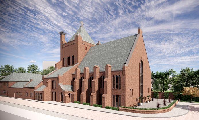 Impressie van de Mariakerk met zorgappartementen.