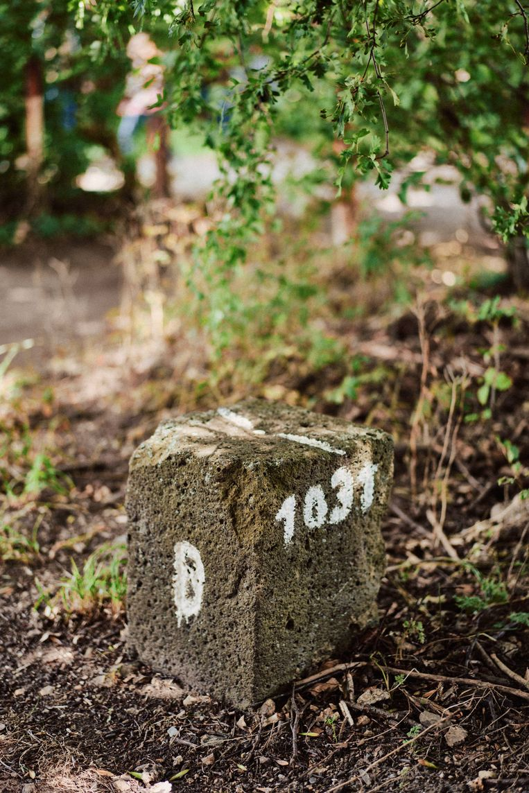 Soms wordt een grens aangeduid met behulp van één steen. Beeld Thomas Sweertvaegher