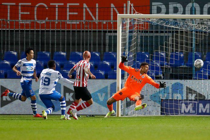 De 1-1 van PEC Zwolle, thuis tegen Sparta.