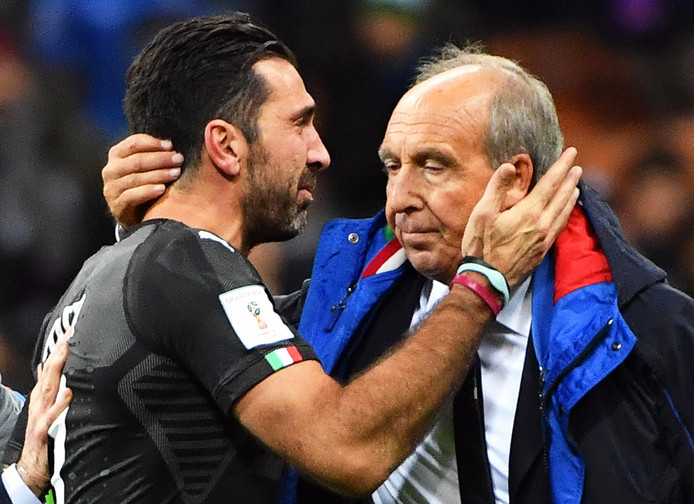 Gianluigi Buffon (links) en Gianpiero Ventura.