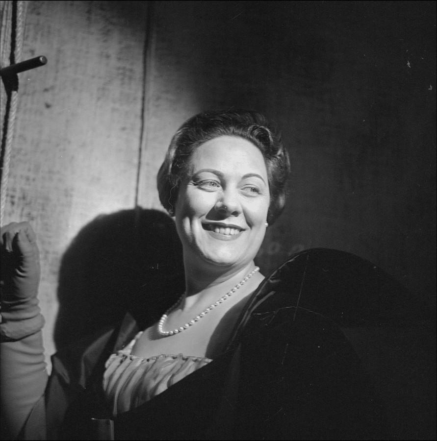 Maria's rivale Renata Tebaldi in de opera 'Tosca' van Giacomo Puccini