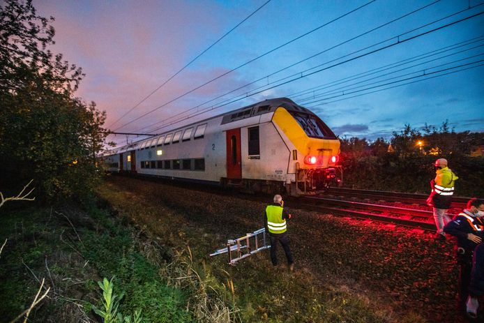 De passagierstrein kwam tot stilstand in Hasselt.