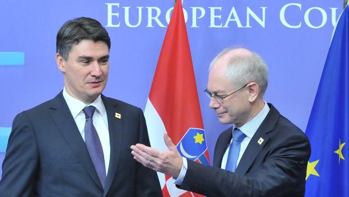 Le Premier ministre croate Zoran Milanovic (avec Herman Van Rompuy, archives)