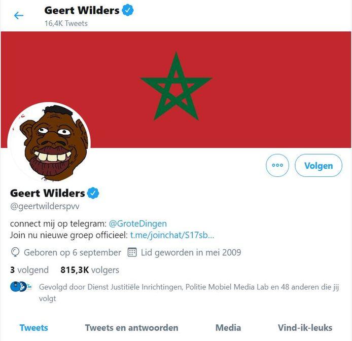 Het Twitteraccount van Geert Wilders op donderdagmorgen, na de hack.