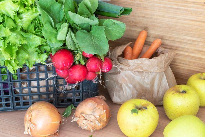 Biologische groenten en fruit.