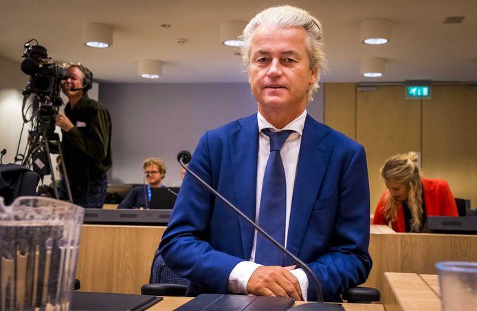 Wilders in de extra beveiligde rechtbank op Schiphol, bij een eerdere zitting. Vandaag liet hij verstek gaan.