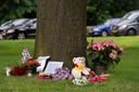 Een monumentje ter nagedachtenis aan Peter Stolzenbach die zondagochtend overleed na een botsing .