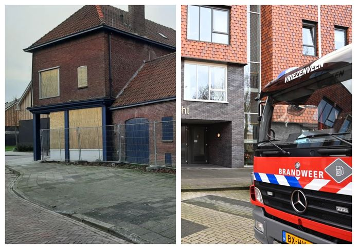Het moordpand (links) en de brandweer in Twenterand (rechts)