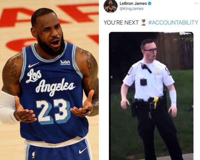 """La star de la NBA LeBron James a pris pour cible le policier de l'Ohio qui a tiré sur Ma'Khia Bryant et l'a tué, en disant """"YOU'REXT"""" (tu es le prochain) dans un tweet supprimé depuis."""