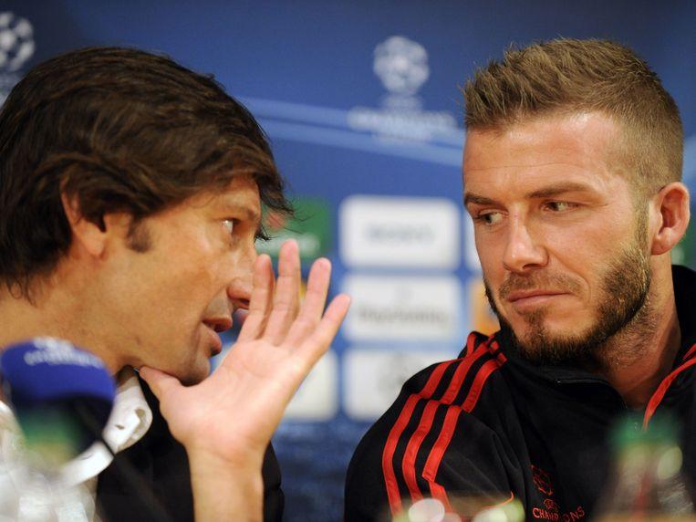 Leonardo hier als trainer van AC Milan in gesprek met David Beckham. Beeld afp