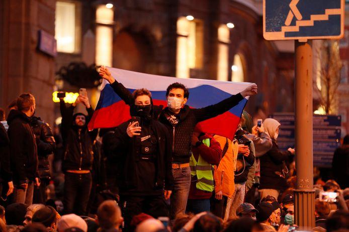 Betogers vanavond in Moskou.