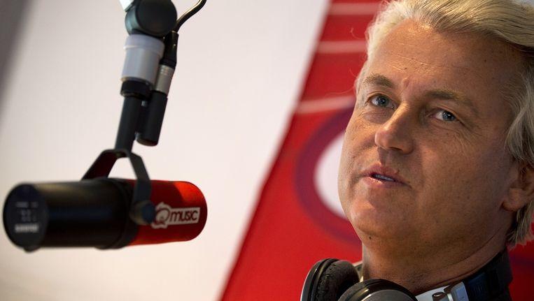 PVV-Leider Geert Wilders tijdens de uitzending van Q-music in het programma 'Q-vakantiekracht: Politici doen uitzendwerk. Beeld anp