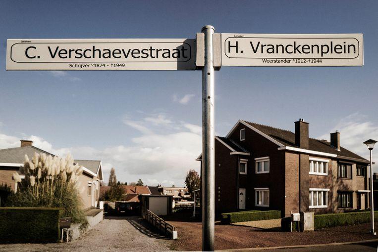 De Cyriel Verschaevestraat grenst aan het Hubert Vranckenplein, genoemd naar de weerstander Hubert Vrancken.  Beeld Eric de Mildt