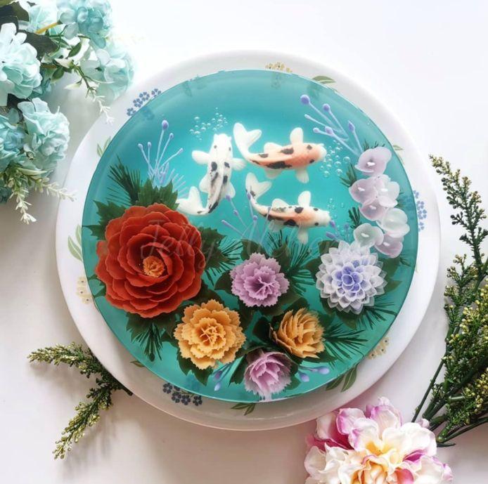 Bloemenperkjes, visvijvers of gewoon allebei? In een jellycake kan het allemaal.