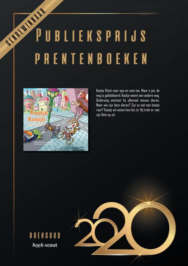 De BoekGoud-publieksprijs in het genre 'Prentenboeken' is voor 'Kootje Konijn fietst door de stad', waarvoor de Bredase illustrator Luuk de Greef de tekeningen maakte.