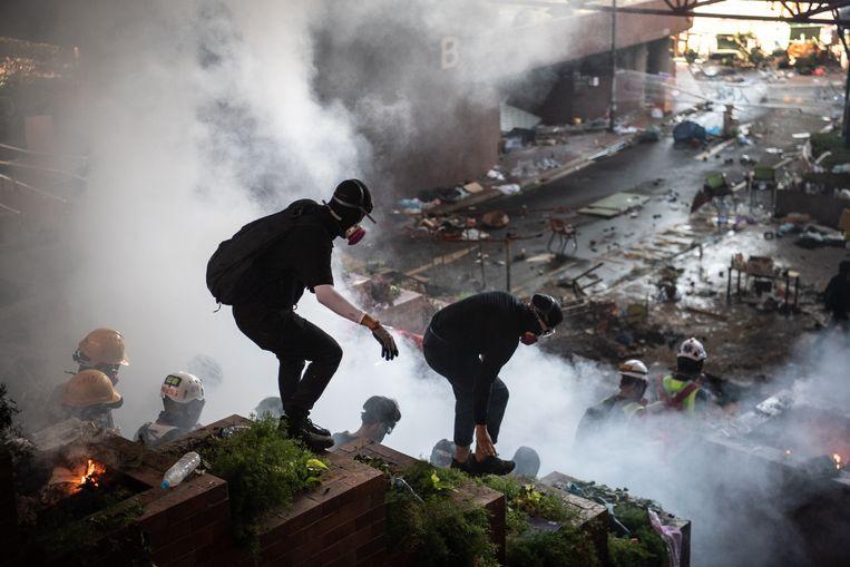 Betogers in Hongkong. Beeld Getty Images