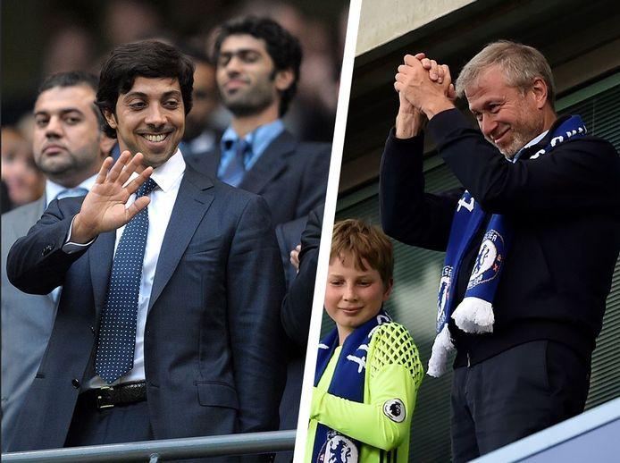 Mansour bin Zayed en Roman Abramovich: graag gezien in respectievelijk het Etihad Stadium en op Stamford Bridge.