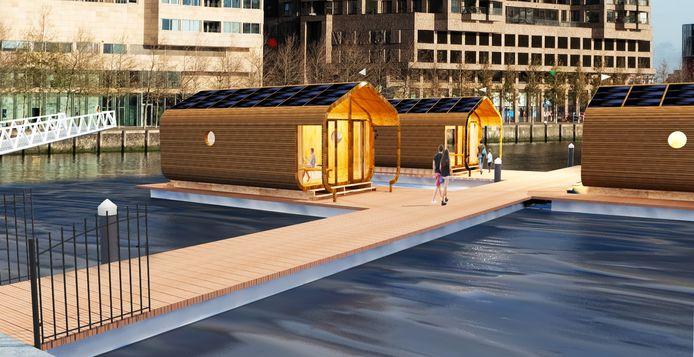 De minihuisjes die in de Rijnhaven komen, zijn zelfvoorzienend en het dak is gemaakt van 24 lagen gerecycled golfkarton.