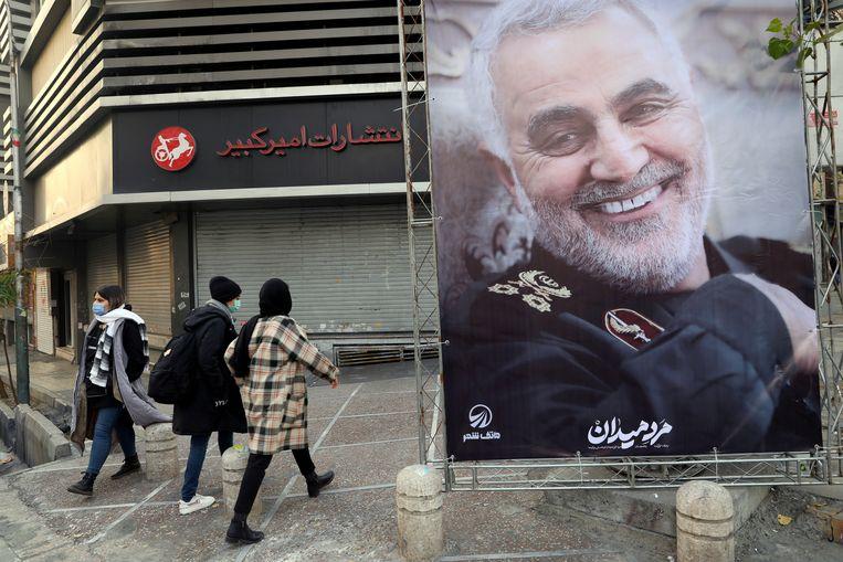 Een beeltenis van Soleimani in de straten van de Iraanse hoofdstad Teheran. Beeld via REUTERS