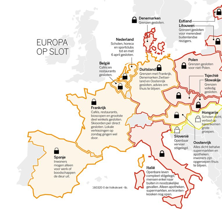 De Europese maatregelen tegen het coronavirus. Beeld de Volkskrant