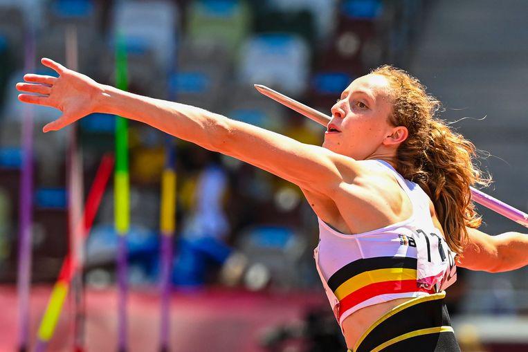 Noor Vidts in actie tijdens de zevenkamp op de Olympische Spelen Beeld Photo News