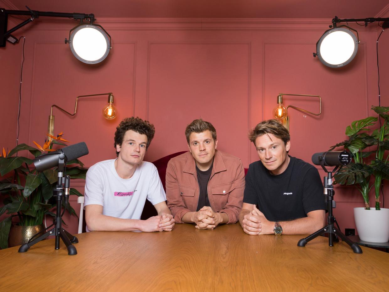 De mannen achter Tonny Media, vanaf links: Titus van Dijk, Jaap Reesema en Sander Schimmelpenninck. Beeld Ivo van der Bent